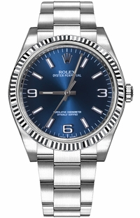 Rolex Oyster Perpetual 36 Blue Dial White Gold Bezel Watch 116034