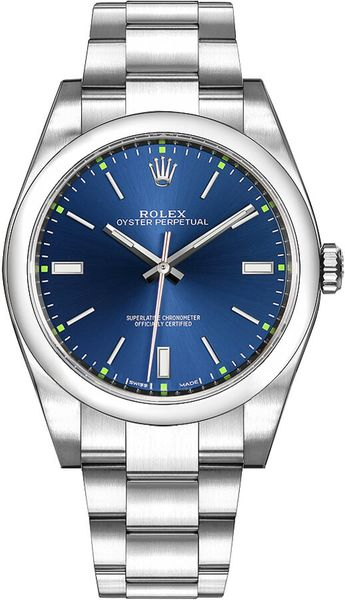 Rolex Oyster Perpetual 39 Blue Dial Men's Watch 114300
