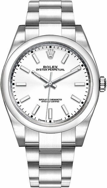 Rolex Oyster Perpetual 39 White Dial Men's Watch 114300-0004