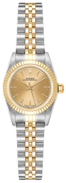 Rolex Oyster Perpetual 24 Champagne Dial Women's Watch 67193