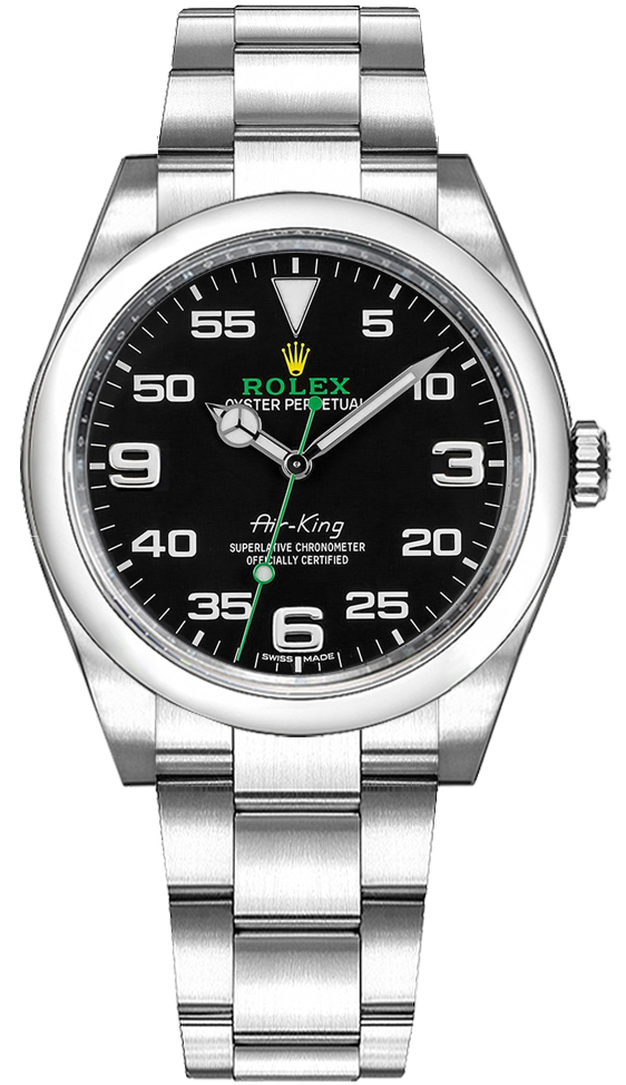 buy popular e55cd 6a24f Rolex Oyster Perpetual Air-King Black Dial Men's Watch 116900