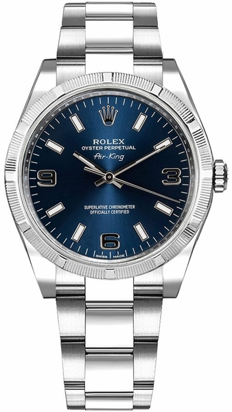 Rolex Oyster Perpetual Air-King Blue Dial Women's Watch 114210
