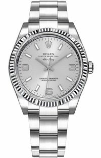 Rolex Oyster Perpetual Air-King Silver Dial Women's Swiss Watch 114234