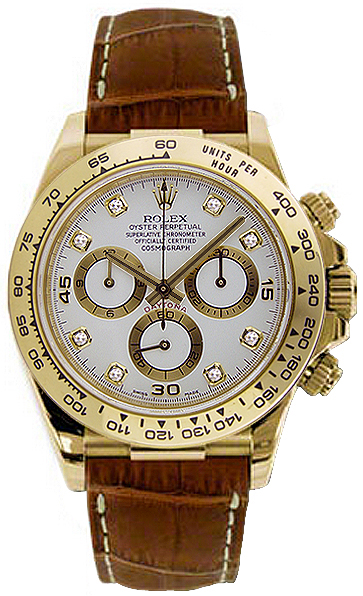116518 Rolex Oyster Perpetual Cosmograph Daytona Gold Watch White