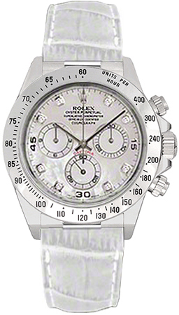 Rolex Cosmograph Daytona White Leather Strap Watch 116519