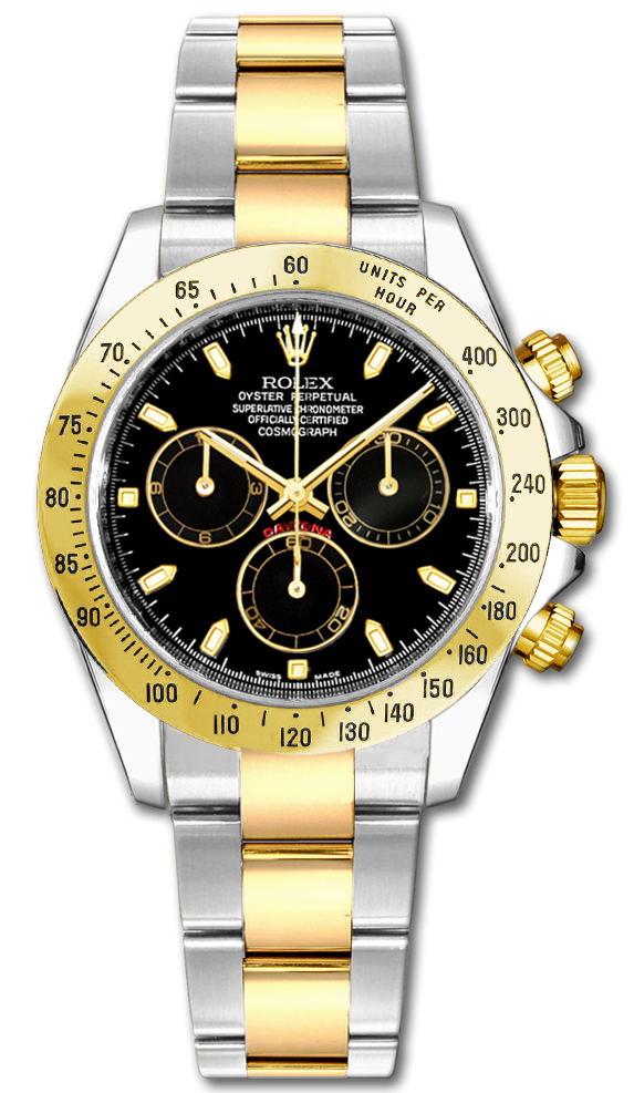 116523 Rolex Daytona Professional Gold Automatic Chronograph Mens Watch