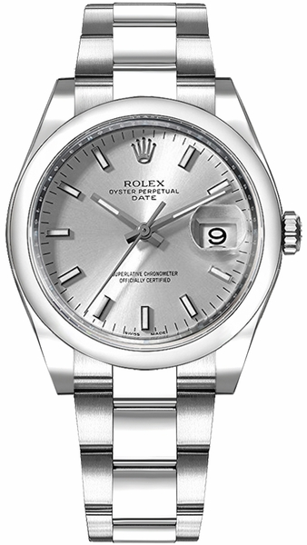 Rolex Oyster Perpetual Date 34 Silver Dial Women's Watch 115200-0006