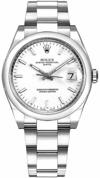 Rolex Oyster Perpetual Date 34 White Dial Luxury Watch 115200