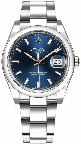 Rolex Oyster Perpetual Date 34 Blue Dial Watch 115200