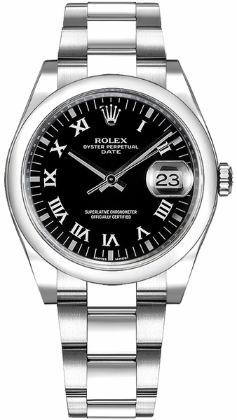 Rolex Oyster Perpetual Date 34 Black Roman Numeral Dial Watch 115200