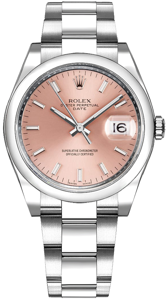 ROLEX | Rolex Oyster Perpetual Date 34 Pink Dial Women'S Watch 115200 | Goxip