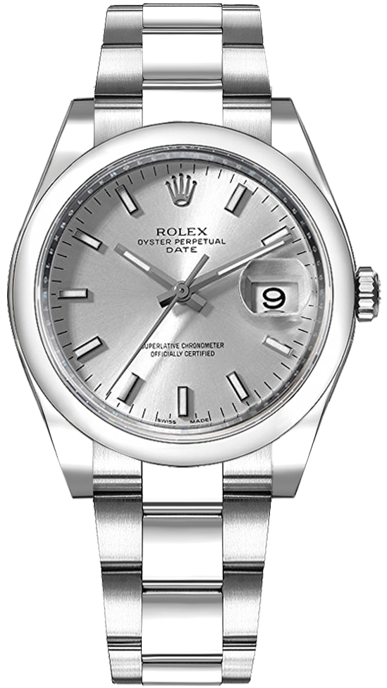 Rolex_Oyster_Perpetual_Date_34_Silver_Dial_Women's_Watch_115200