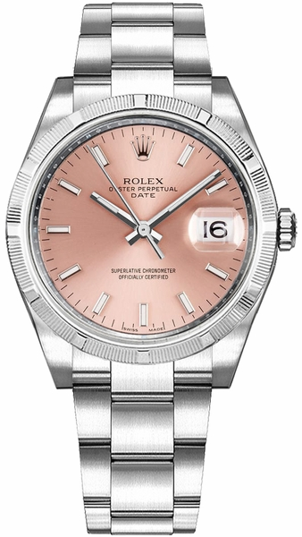 Rolex Oyster Perpetual Date 34 Pink Dial Swiss Automatic Watch 115210