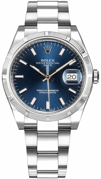 Rolex Oyster Perpetual Date 34 Blue Dial Watch 115210