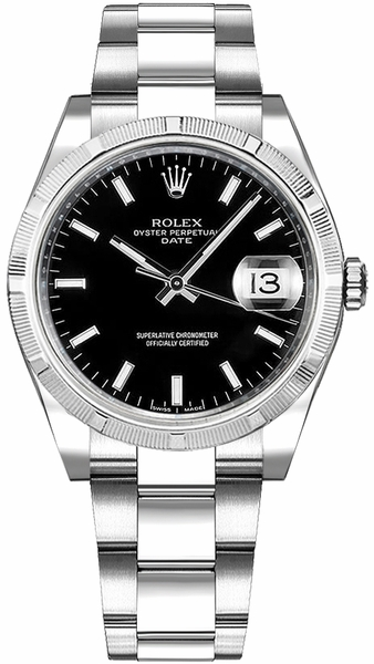 Rolex Oyster Perpetual Date 34 Black Dial Watch 115210