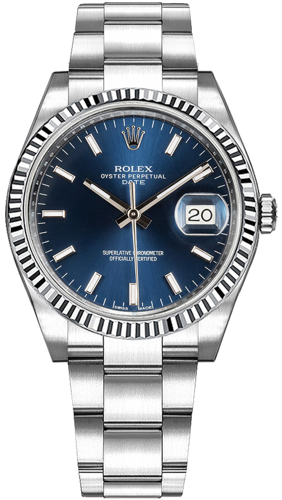b2db906e0 Rolex Oyster Perpetual Date 34 Blue Dial Women's Watch 115234 - image 0 ...