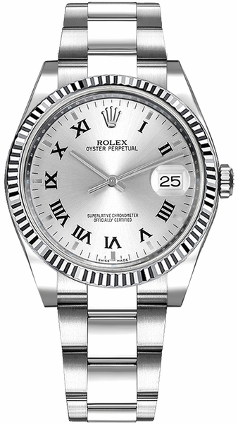 Rolex Oyster Perpetual Date 34 Silver Roman Numeral Dial Watch 115234
