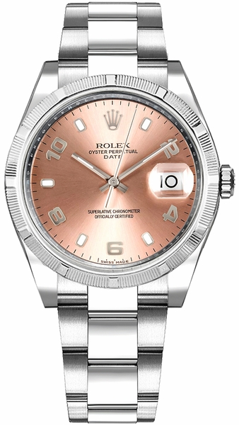Rolex Oyster Perpetual Date 34 Pink Dial Watch 115234