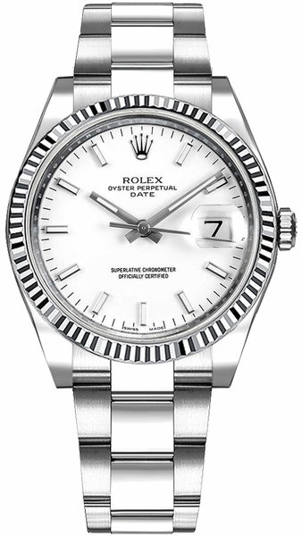 Rolex Oyster Perpetual Date 34 White Dial Women's Watch 115234