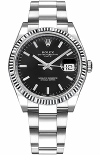 Rolex Oyster Perpetual Date 34 Black Dial Watch 115234