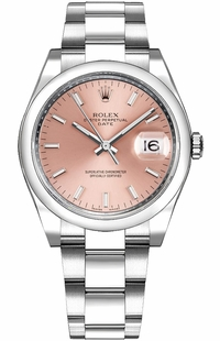 Rolex Oyster Perpetual Date 34 Pink Dial Women's Watch 115200