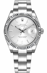 Rolex Oyster Perpetual Date 34 Silver Dial Watch 115234