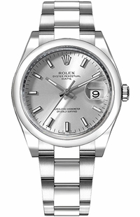 Rolex Oyster Perpetual Date 34 Silver Dial Women's Watch 115200