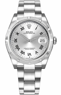 Rolex Oyster Perpetual Date 34 Silver Dial Women's Watch 115210