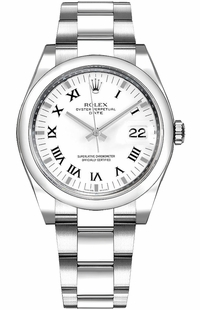 Rolex Oyster Perpetual Date 34 White Roman Numeral Dial Watch 115200