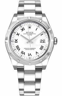 Rolex Oyster Perpetual Date 34 White Roman Numeral Watch 115210