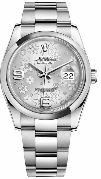 Rolex Datejust 36 Silver Floral Dial Watch 116200