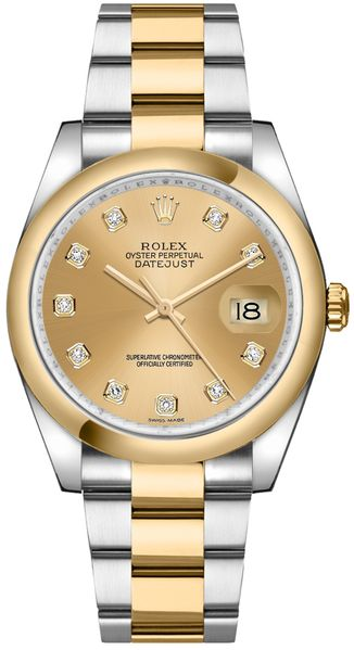 Rolex Datejust 36 Champagne Diamond Gold & Steel Watch 116203