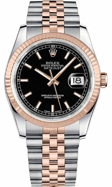 Rolex Datejust 36 Black Dial Steel & Rose Gold Watch 116231