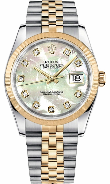Rolex Datejust 36 Mother of Pearl Diamond Watch 116233