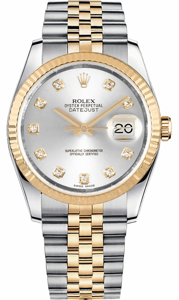Rolex Datejust 36 Silver Diamond Watch 116233