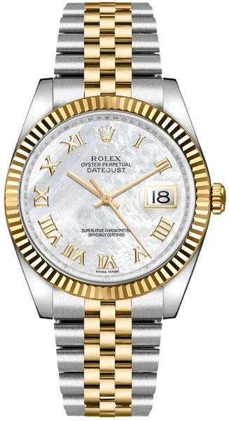 Rolex Datejust 36 Mother of Pearl Roman Numeral Watch 116233