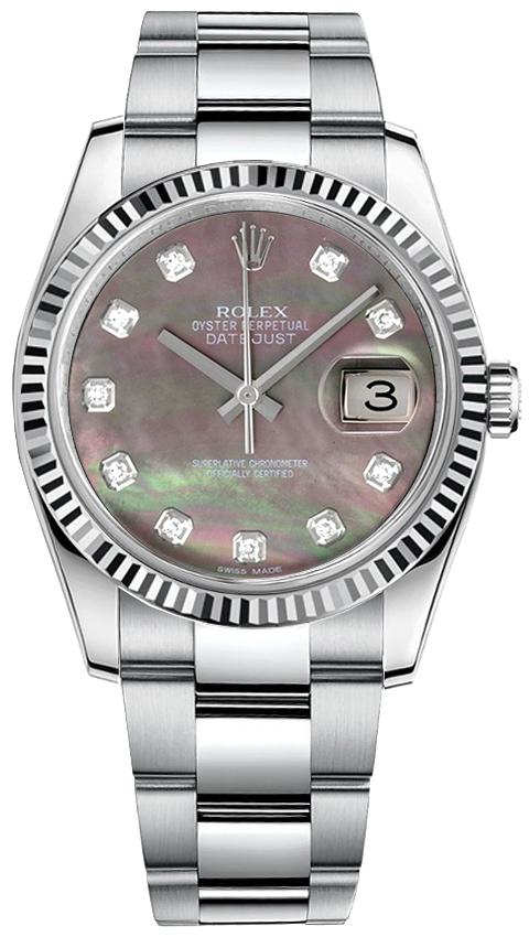 Watch Mom In Bedroom Camera: Shop Rolex DateJust 36 116234 Black Mother Of Pearl