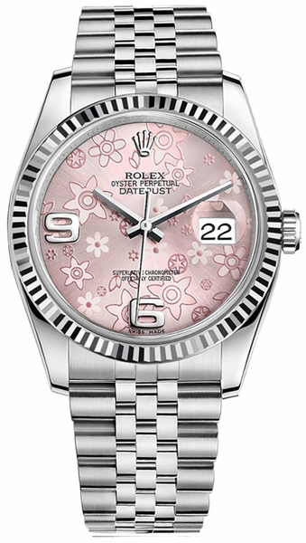 Rolex Datejust 36 Pink Floral Dial Women's Watch 116234