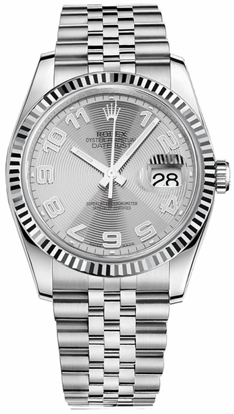 Rolex Datejust 36 White Gold Fluted Bezel & Stainless Steel Watch 116234