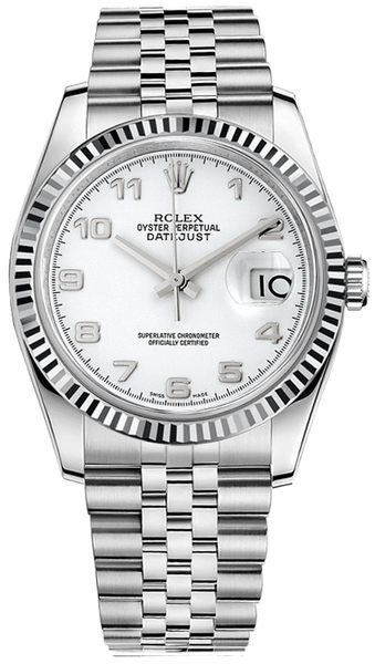Rolex Datejust 36 White Dial Men's Watch 116234