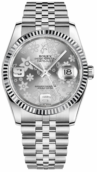 Rolex Datejust 36 Silver Floral Dial Watch 116234