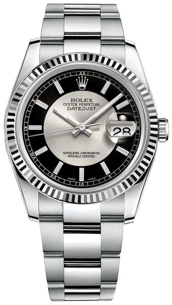 Rolex Datejust 36 Black & Silver Dial Watch 116234