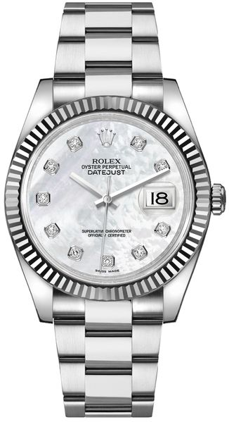 Rolex Datejust 36 Mother of Pearl Diamond Oyster Bracelet Watch 116234