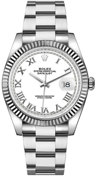 Rolex Datejust 36 White Roman Numeral Dial Watch 116234