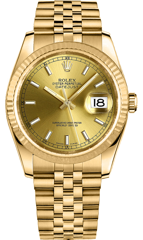 9354506eee14 Rolex Datejust 36 Solid Gold Fluted Bezel Watch 116238 - image 0 ...