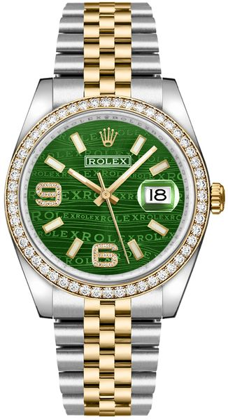 Rolex Datejust 36 Green Diamond Dial Watch 116243