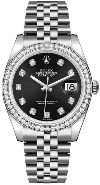 Rolex Datejust 36 Black Diamond Dial Watch 116244
