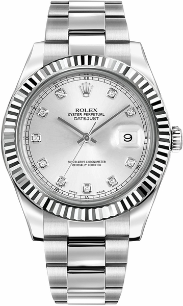 Rolex Datejust II 41 Silver Diamond Dial Men's Watch 116334-0007