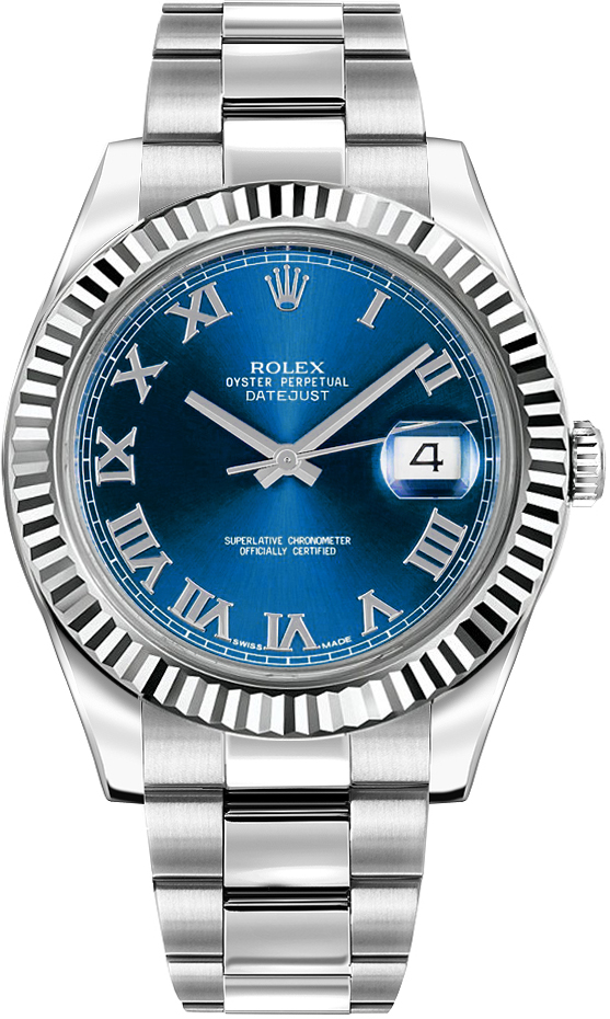 Rolex Datejust II 41 Blue Roman Numeral Dial Men's Watch 116334