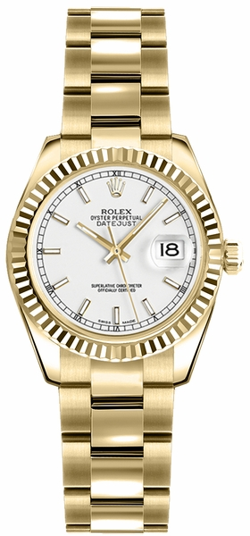 Rolex Lady-Datejust 26 Silver Dial Gold Watch 179178